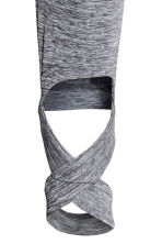 Yoga tights with foot straps - Grey marl - Ladies | H&M 4
